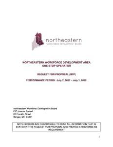 One Stop Operator Rfp Revised Northeastern Workforce Development Board